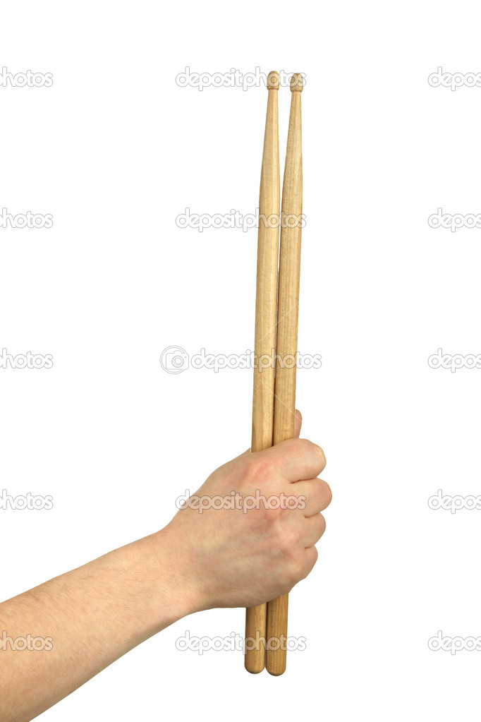 Male hands holding drum sticks.isolated backgrund — Stock Photo #3228294