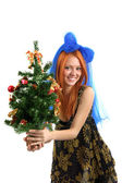 The young beautiful girl in a dress holds a Christmas tree on is — Stock Photo