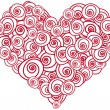 Heart shape made of red roses — Imagen vectorial