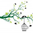 Tree with birdcage and kissing birds — Vector de stock