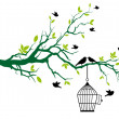 Tree with birdcage and kissing birds — Stock Vector