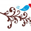 Ornamental bird with red heart — Imagen vectorial