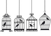 Vintage birdcages with birds — 图库矢量图片