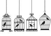 Vintage jaulas con pájaros — Vector de stock