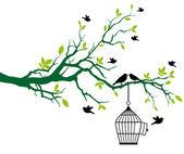 árbol con jaula de pájaros y aves de besos — Vector de stock