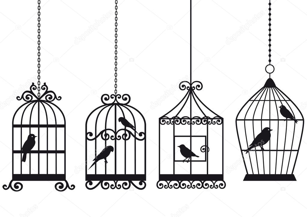 Set of ornamental vintage birdcages with birds, vector background — Stock Vector #3214062