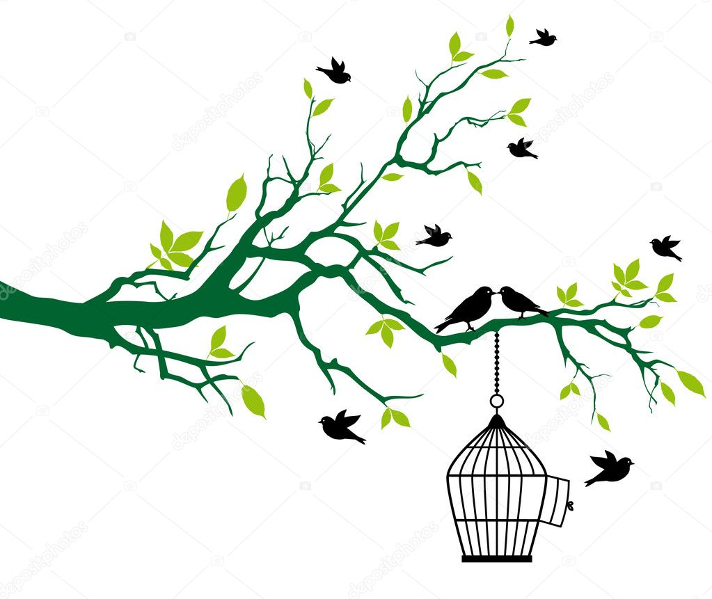 Green spring tree with open birdcage and kissing birds, vector background — Векторная иллюстрация #3214070