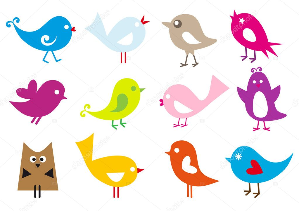 Set of cute vector birds  Stockvectorbeeld #3225731