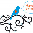 Happy birthday card with lovebird — Imagens vectoriais em stock