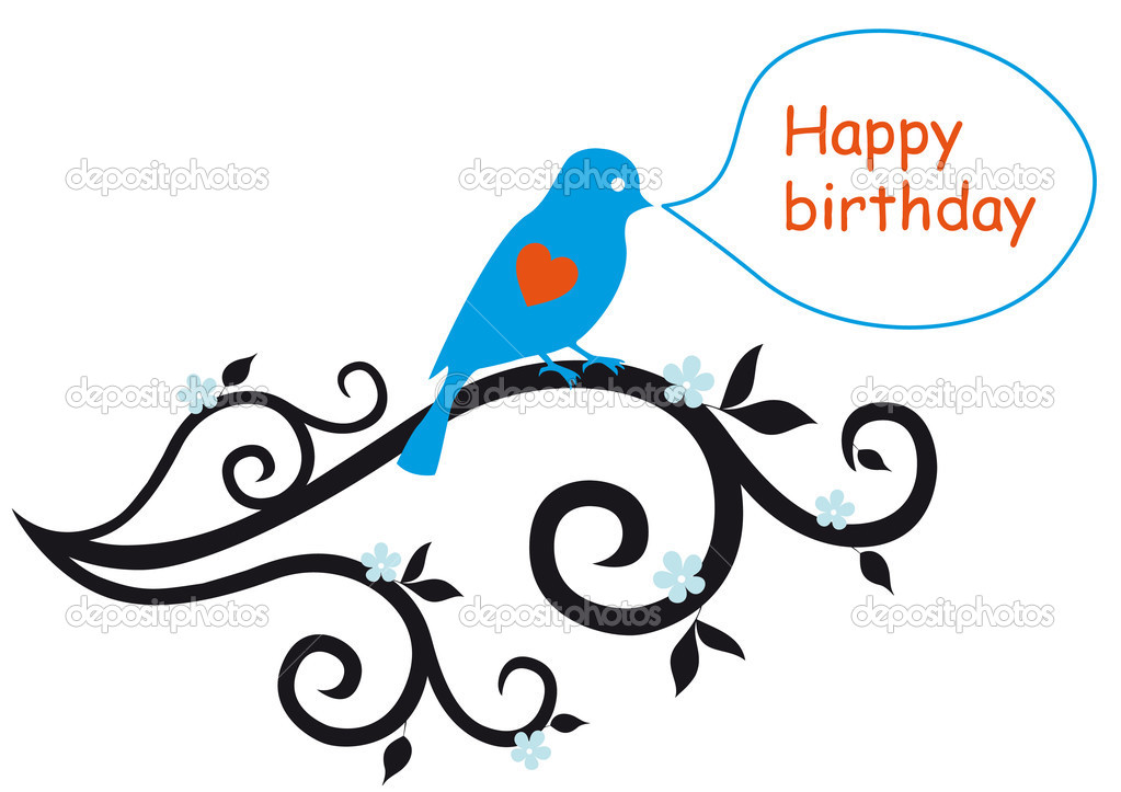 Happy birthday card with bird and floral ornaments, vector — Stock Vector #3266083