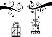 Bircage and birds, vector — Stok Vektör