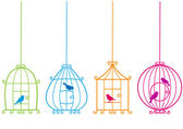 Lovely birdcages with birds, vector — Vettoriale Stock