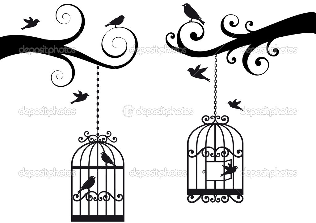 Ornamental tree branches with bircage and birds, vector background — Векторная иллюстрация #3272850