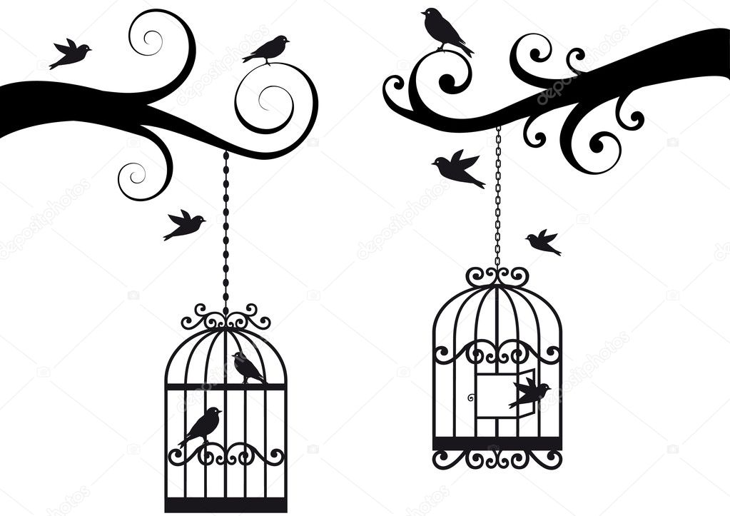 Ornamental tree branches with bircage and birds, vector background — Imagen vectorial #3272850