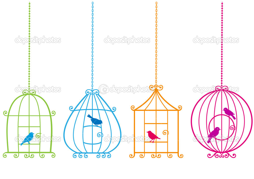 Set of ornamental birdcages with birds, vector background  Stock Vector #3272862