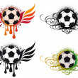 Grungy football with wings — Stock Vector