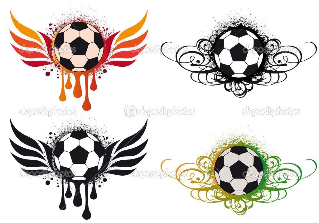 Soccer ball with wings tattoos