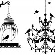 Stock Vector: Antique birdcage and chandelier, vector