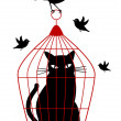 Cat in birdcage, vector — Vector de stock