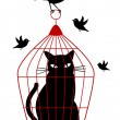 Cat in birdcage, vector — ストックベクタ