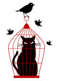 Cat in birdcage, vector — Stock Vector