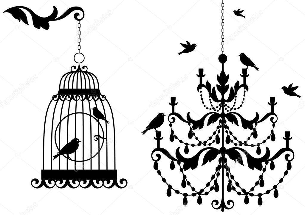 Vintage birdcage and crystal chandalier with birds, vector background — Imagen vectorial #3416092