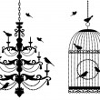Birdcage and chandelier with birds, vector — Vettoriali Stock