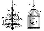 Fågelbur och ljuskrona med fåglar, vektor — Stockvektor
