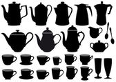 Coffee cups and pots, vector — Vettoriale Stock