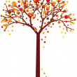 Stock Vector: Grungy autumn tree