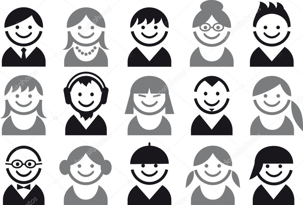 Icon set of woman and man faces, vector pictogram — Grafika wektorowa #3787574