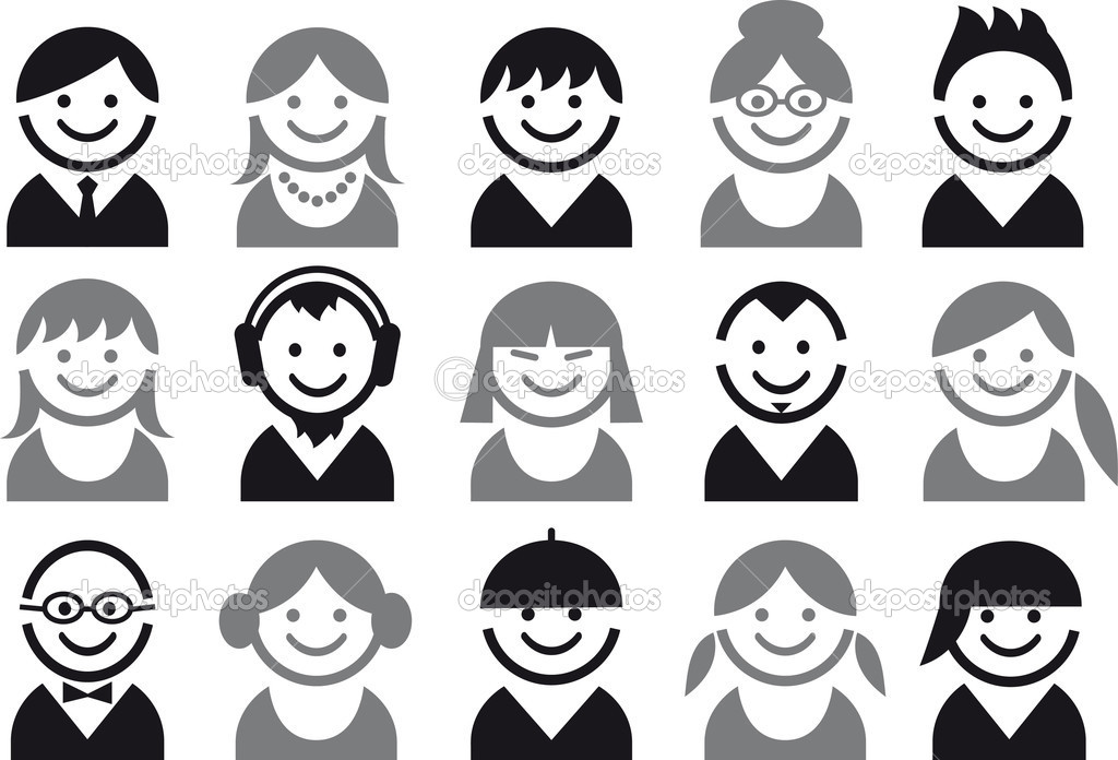 Icon set of woman and man faces, vector pictogram — Imagen vectorial #3787574