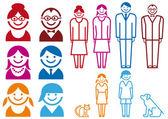 Família ícone conjunto, vetor — Vetorial Stock
