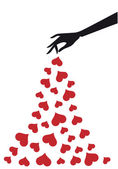 Hand with hearts, vector — Stock Vector