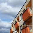 Detail of orange and yellow prefab house — Stock Photo