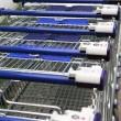 Detail of row of the shopping baskets — Stock Photo