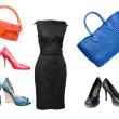 Set of female shoes, dress and bags — Stock Photo