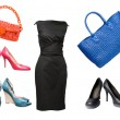 Set of female shoes, dress and bags — Stock fotografie