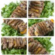 Shashlik with potherbs — Stock Photo
