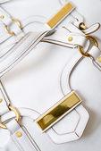 Vitt läder kvinnliga väska — Stockfoto