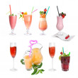 Set of various cold cocktails isolated on white — Stock Photo