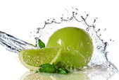 Water splash on lime with mint — Stockfoto
