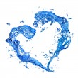 Heart from water splash with bubbles - Stock Photo