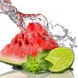 Watermelon, lime, mint and water — Stock Photo