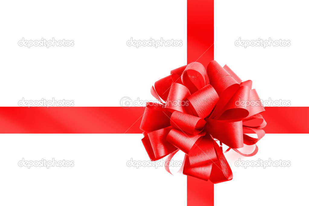 Red bow and ribbon isolated on white — Stock Photo #3023006