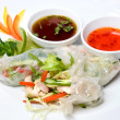 Chinese rolls with meat on the plate - Foto Stock