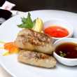Chinese rolls with meat on the plate - Zdjęcie stockowe