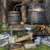 Old technology of making alcohol — Stok fotoğraf