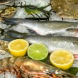 Fresh frozen fish with oysters, lobster and lemons in ice - Stock Photo
