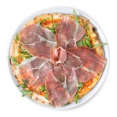 Italian pizza with ham isolated on white — Stock Photo